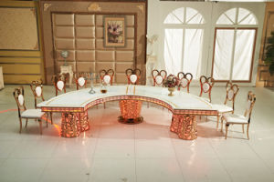 Fancy Golden Semicircle LED Wedding Table Centre Table pictures & photos
