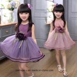 Girl Sleeveless Princess Dress Kids Summer Dress with Flower pictures & photos