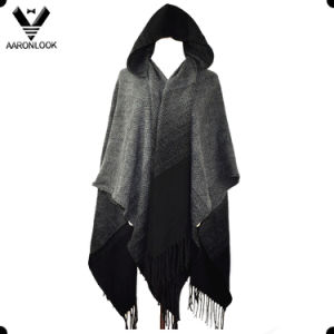 2016 Latest Color Gradual Change Acrylic Fashion Hooded Shawl pictures & photos