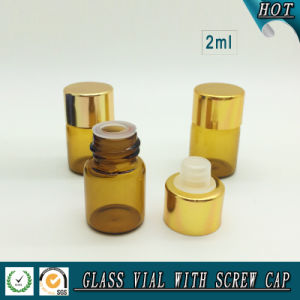 2ml 5/8 DRAM Amber Glass Essential Oil Bottle with Reducer Plug and Aluminum Cap pictures & photos