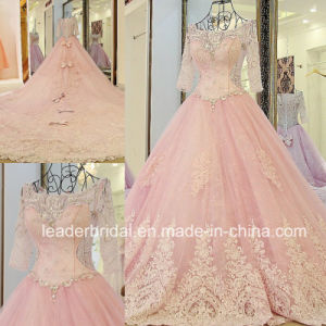 Pink Bridal Gowns 3/4 Sleeves Sheer Beaded Wedding Dress Lb285 pictures & photos