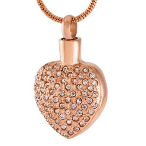 Bling Bling Crystal Heart Urn Charm Necklace Women Stainless Steel Cremation Jewelry in Pendant Necklace pictures & photos