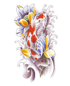 Fashionable Bright Carp Lotus Temporary Tattoo Sticker Art Tattoo pictures & photos