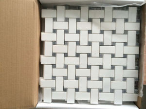 Bianco White Basketwave Shaped Mosaic with Black DOT pictures & photos