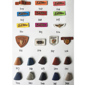 Customized Leather Clothing Labels with Metal Logo pictures & photos