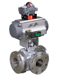 Pneumatic 3 Way Ball Valve Flanged pictures & photos