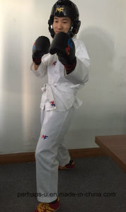 High-End Students Taekwondo Uniforms with Custom Embroidery Logo pictures & photos