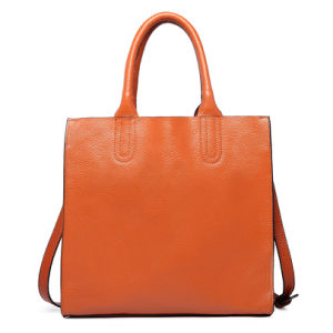 Designer Women PU Leather Handbag Plain Tote Shoulder Bag pictures & photos