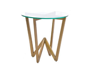 Casa Angle Circular Side Table / Small Side Table / Rose Gold Finish Side Table with Glass Top pictures & photos