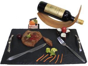 Factory Direct Natural Edge 35*25cm Rectangle Black Restaurant Slate Plate Decorate Fruit Serving Tray Mats with Handle