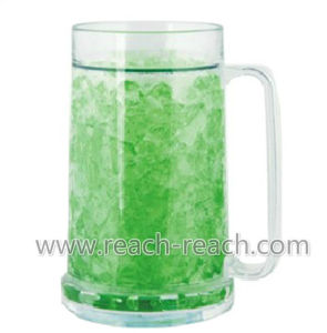 500ml Beer Cold Plastic Double Wall Ice Frozen Mug (R-7004) pictures & photos