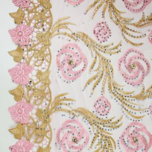 New Arrival White Net Fabric Embroidery Lace for Party Cloth pictures & photos