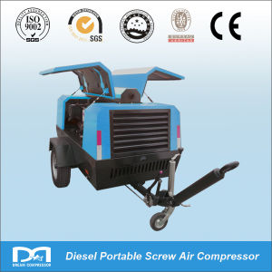 4wheels Diesel Engine High Pressure Portable Rotary Screw Air Compressor Made in China pictures & photos