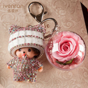 Preserved Flower Monchhichi Keychain for Gift pictures & photos