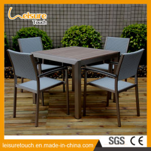 Outdoor Garden Patio Furniture Wood Beer Stool B&R Aluminum Rattan Dining Bistro Chair Table Set pictures & photos