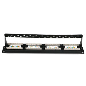 Cat5e Unshielded RJ45 Patch Panel Fluke Test in 24 Ports with Back Bar pictures & photos