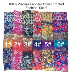 2017 Fashion Ladies Viscose Leopard Flower Printed Designs Scarf Factory pictures & photos