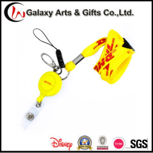 DHL Custom Silk Screen Printed Retractable Tubular Lanyard Badge Reel