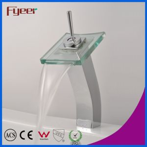 Fyeer High Arc Single Handle Chrome Glass Square Spout Wash Basin Faucet Water Mixer Tap Wasserhahn pictures & photos