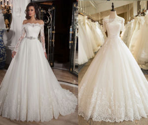 off The Shoulder 3/4 Sleeve Lace Wedding Gown pictures & photos