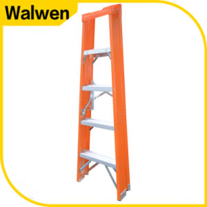 New Design Orange Color Aluminum Step Fiberglass a Frame Ladder with Plastic Tray pictures & photos