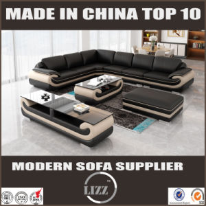 Affordable Bonded Leather Living Furniture Sofa Set with Ottoman pictures & photos