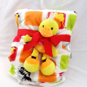 Baby Blanket with Plush Toy -Soft Micro Mink with Sherpa-Duck pictures & photos