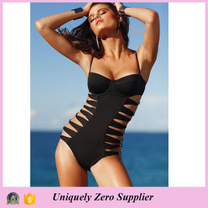 2016 Women Sexy Black Hollow One-Piece Beachwear with Spaghetti Strap pictures & photos