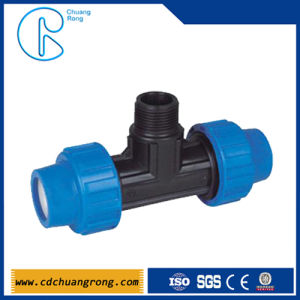 Black Color Gas Pipe PP Fitting Male Tee Compression pictures & photos
