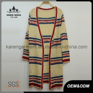 Ladies Open Front Striped Knitted Cardigan pictures & photos