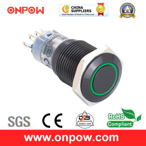 Onpow 16mm Illuminated Push Button Switch (LAS2GQF-11E/R/12V/A, CE, CCC, RoHS) pictures & photos