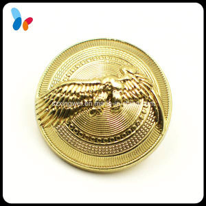 Custom Convex Logo Gold Finish Plastic Shank Button for Coat pictures & photos