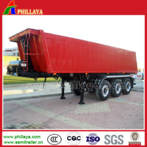 Tri-Axle 35m3 End Dump Semi Trailer with Square Box pictures & photos
