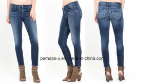 Classical Womens Indigo Leisure Slim Jeans pictures & photos