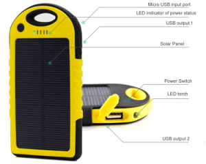 High Capacity Safe Portable and Real 5000mAh Solar Charger Special for Outdoor pictures & photos