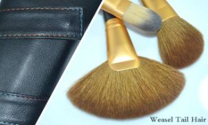 16 Pieces Luxury Gold Ferrule Black Handle Weasel Tail Hair Makeup Brush pictures & photos