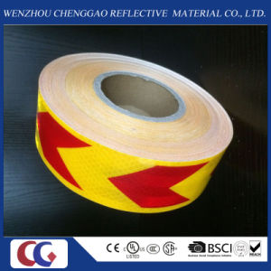 Pet High Visibility Yellow and Red Arrow Reflective Material Tape pictures & photos