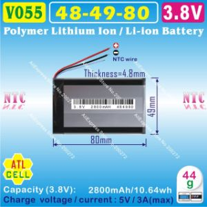 3.8V/3.7V 2800mAh 484980pl Li-ion Battery for Tablet PC, Power Bank pictures & photos