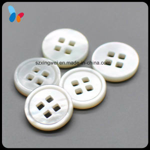 10mm Fashion White Mop Shell Button with Square Hole pictures & photos