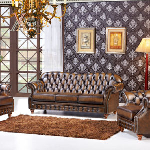Antique Style Leather Sofa Set (SQL19) pictures & photos