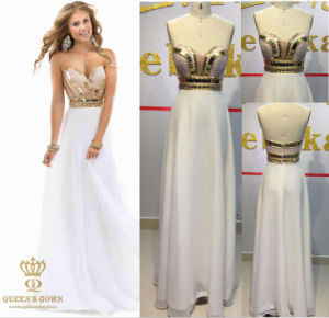 Evening Dresses. Delicate Fashion Evenig Wear. Gold Beaded Dress. pictures & photos