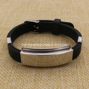 Wholesale Custom Carbon Steel Adjustable Silicone Wristband pictures & photos