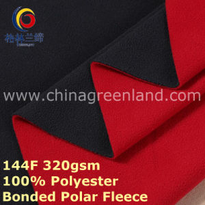 Polyester Knitted Bonded Polar Fleece Fabric for Man′s Clothes (GLLML405) pictures & photos