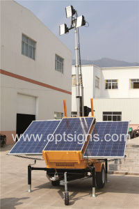 Green Energy Hydraulic Lifting Outdoor Solar Powered Mobile Light Tower pictures & photos