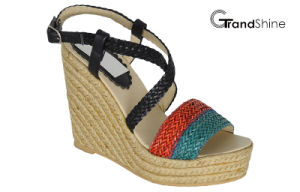 Women′s Platform Espadrilles Braided Strap Wedge Sandals pictures & photos