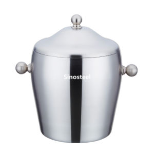 Drum Stype Thickning Double Stainless Steel Ice Bucket with Lid & Handle pictures & photos