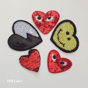 Heart Shape Clothing Patch, Heart Sewing Patch, Woven Label Iron on Sticky Applique pictures & photos