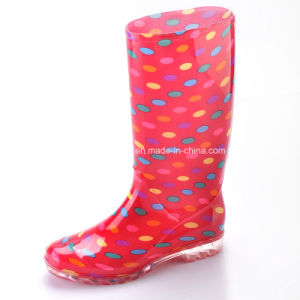 China Lady Fashion PVC Boots Flower Rain Boots Safety W-6040 pictures & photos