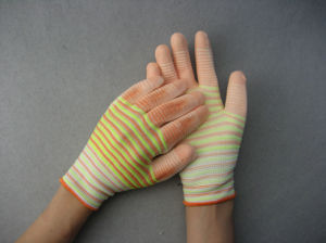 13G Mixed Color Polyester Liner White PU Work Glove pictures & photos