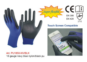 18 Gauge Navy Blue Nylon/Black PU Gloves pictures & photos